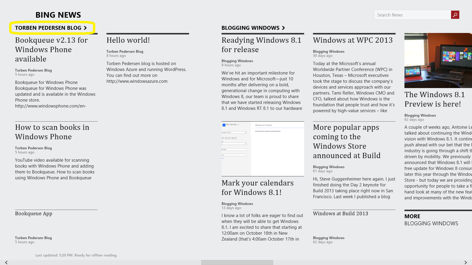 using bing news and windows azure as a news solution